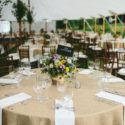 Round table with burlap linens