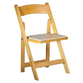 Tan Folding Chair with Pad