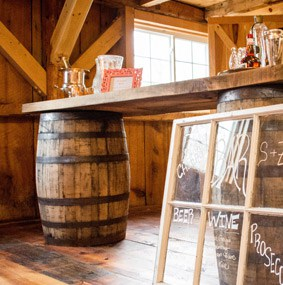 Rustic wedding bar rentals