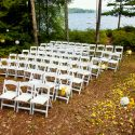 white garden chairs for outdoor weddings